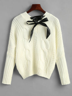 Cable Knit Chunky Bowknot Sweater
