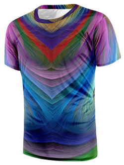 Crew Neck Short Sleeve Colorful Tee