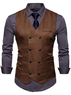 Slim Fit V Neck Double Breasted Waistcoat