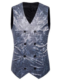 Double Breasted Paisley Pattern Waistcoat