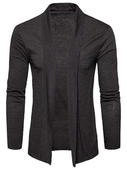 Plain Shawl Collar Open Front Cardigan