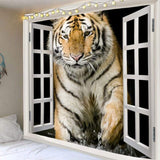 Art Decor Tiger Printed Waterproof Hanging Tapestry