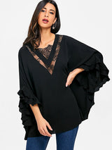 Batwing Sleeve Lace Panel Tunic Blouse