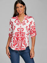 Asymmetrical Ethnic Print T-shirt