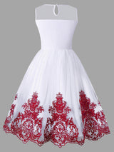 Arab Embroidery Sleeveless Flare Dress