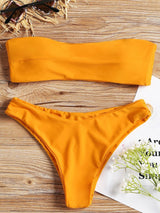 Bandeau Thong Low Waist Bikini Set