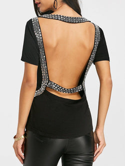 Backless Rhinestone T-shirt