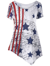 Asymmetric American Flag T-shirt