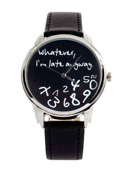 Letters Face Faux Leather Band Watch