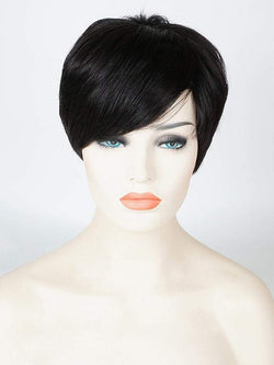 Short Straight Human Hair Wig with Inclined Bang