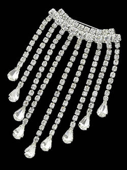 Teardrop Shiny Faux Diamond Fringed Brooch