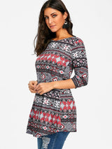 Argyle Tribal Print Swing Tunic T-shirt