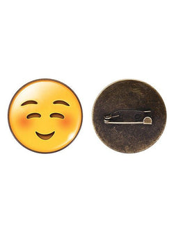 1PC Funny Emoji Face Circle Brooch
