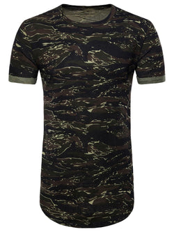 Camouflage Pattern Rolled Cuff Longline Tee