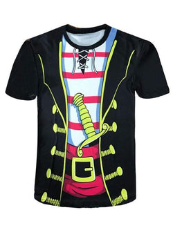 Cartoon Pirate Costume Faux Twinset Novelty Tee
