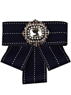 Multilayer Ribbon Bowknot Faux Gem Brooch