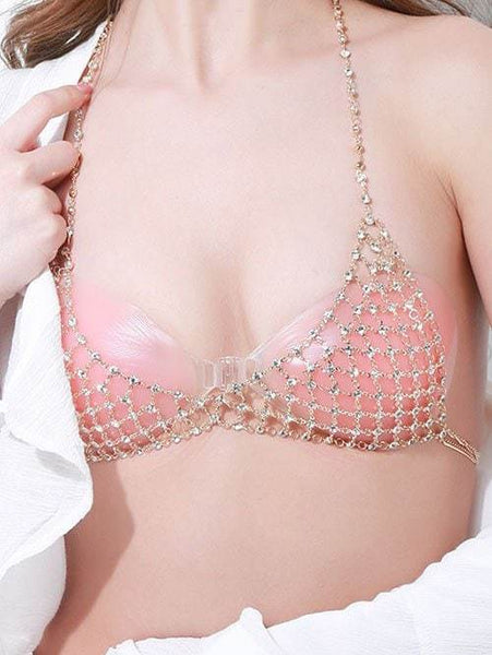 Multilayered Rhinestone Geometric Bra Body Chain