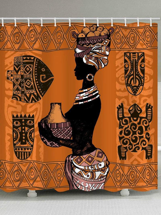 African Culture Print Waterproof Shower Curtain