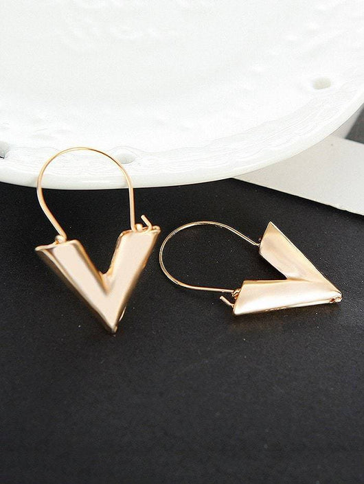 Alloy Metal Letter V Hoop Earrings