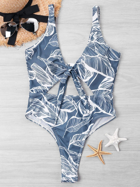 Bowknot Cut Out Leaf Print One Piece