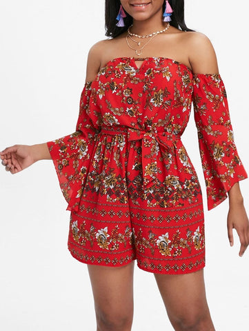 Bell Sleeve Floral Off The Shoulder Playsuit