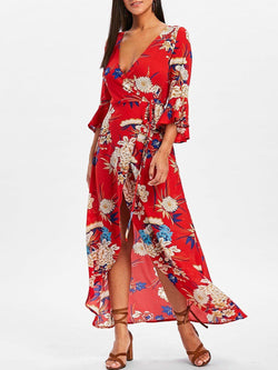 Bell Sleeve Floral Wrap Maxi Dress