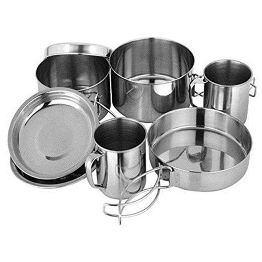 8PC Stainless Steel Picnic Pot Kit Camping Backpacking Hiking Cookware Set