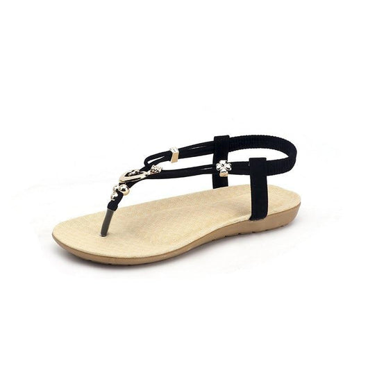 Beaded Metal Buckle Toe Large Size Beach Sandals