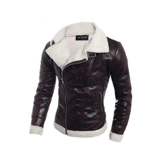 Lambskin Korean Men'S Slim Collar Leather Jacket