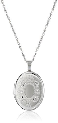 Sterling Silver Oval Hand-Engraved Locket