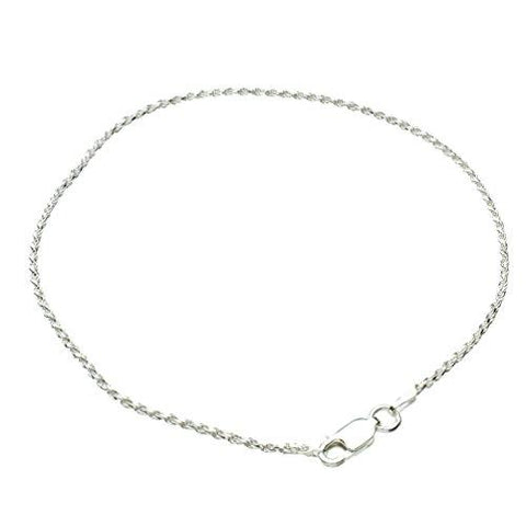 1.5mm Diamond-Cut Rope Chain Anklet