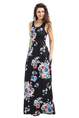 Floral Print Round Neck Sleeveless Long Maxi Casual Dress