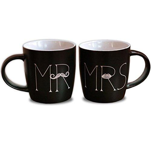 MKT ST Mr and Mrs Ceramic Coffee Mug, Matte Black