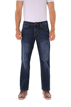 Classic Straight Fit Blue Stonewash Denim Jeans for Men
