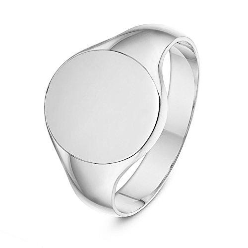 Unisex Sterling Silver Cushion or Oval Shape Heavy Weight Polished Signet Ring