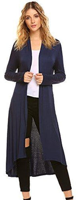 POGTMM Women's Long Open Front Drape Lightweight Maxi Long Sleeve Cardigan Sweater