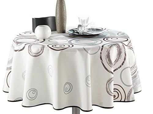 63-Inch Round Tablecloth Ivory White Stain Resistant Washable Liquid Spills bead up Seats 4 to 6 People