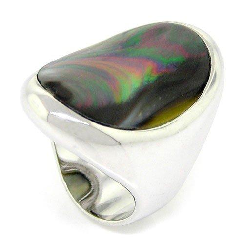 Black Mother-of-Pearl Oval Ring