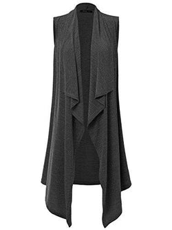 Sleeveless Open Shawl Cardigan With Belt