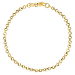 10k Solid Yellow Gold Rolo Chain Bracelet and Ankle Anklet
