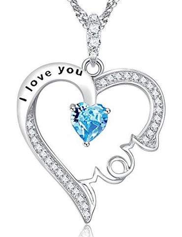 I Love You Mom Aquamarine Necklace