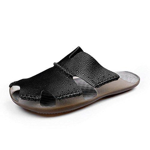 AIRIKE Men Casual Leather Beach Sandals Flat Slip-ONS Slippers Non-Slip Closed Toe Outdoor Summer Shoes with Big Size