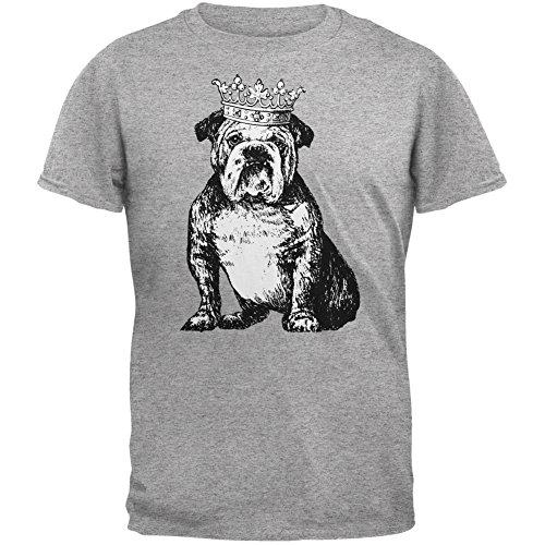 Animal World Bulldog Crown Heather Grey Adult T-Shirt | HOTTOPTRENDS