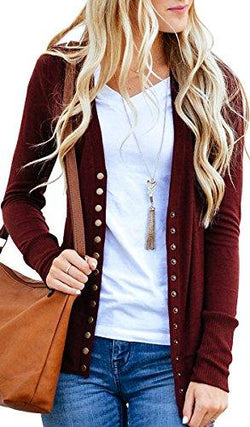 Cozy Basic Knit Snap Cardigan Sweater