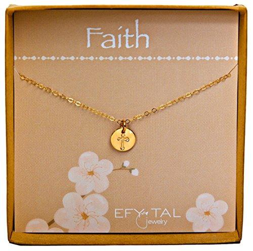 Tiny Gold Filled Faith Cross Necklace