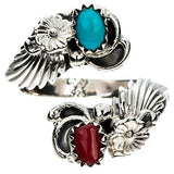 Turquoise Coral Sterling Silver Adjustable Ring