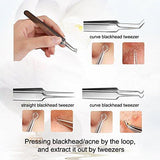 AMTOK Blackhead Remover Kit Curved Blackhead Tweezers Kit Pimple Comedone Extractor Tool