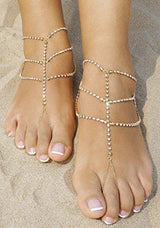 Crystal Anklets for Beach Barefoot Sandals