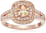 14k Rose Gold Plated Sterling Silver Double Halo Ring