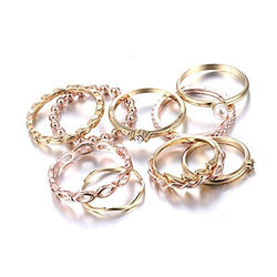 10PCS Bohemian Retro Vintage Crystal Joint Knuckle Ring Sets